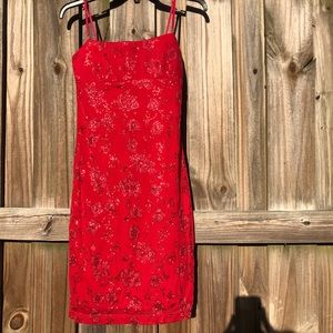 Red Sparkly Floral Bodycon Mini Dress